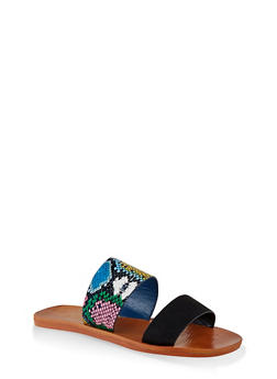 Contrast Two Band Slide Sandals - BLACK SUEDE - 1112004066701