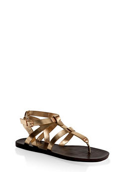 Caged Thong Sandals - GOLD - 1112004066702