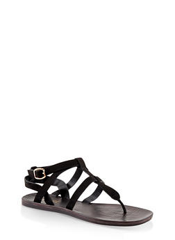 Caged Thong Sandals - BLACK SUEDE - 1112004066702