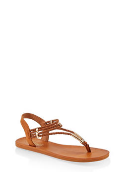 Braided Band Thong Slingback Sandals - 1112004066704