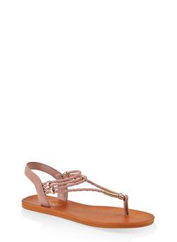 Braided Band Thong Slingback Sandals - 1112004066704