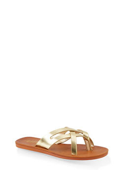 Criss Cross Strap Thong Sandals - GOLD - 1112004066705
