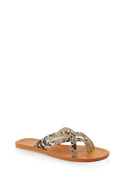 Criss Cross Strap Thong Sandals - NATURAL SKIN PRINT - 1112004066705