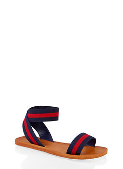 Elastic Single Strap Sandals - NAVY - 1112004066706