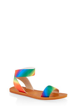 Elastic Single Strap Sandals - MULTI COLOR - 1112004066706