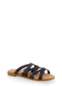 Strappy Slide Sandals - BLACK - 1112004067355