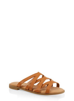 Strappy Slide Sandals - TAN - 1112004067355