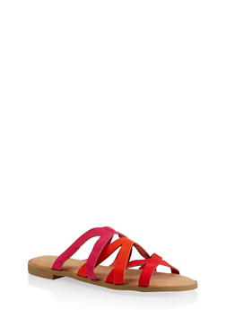 Strappy Slide Sandals - RED - 1112004067355