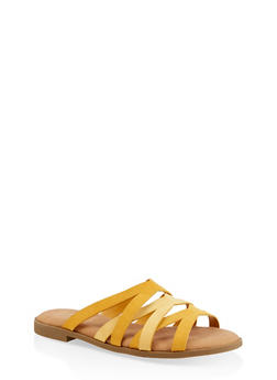 Strappy Slide Sandals - YELLOW - 1112004067355
