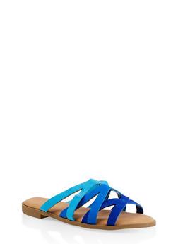 Strappy Slide Sandals - BLUE - 1112004067355