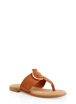 Metallic O Ring Thong Slide Sandals - TAN - 1112004067358