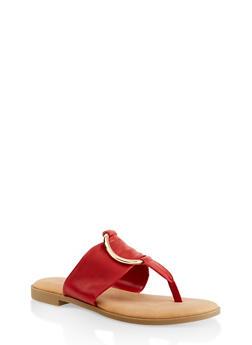 Metallic O Ring Thong Slide Sandals - RED - 1112004067358