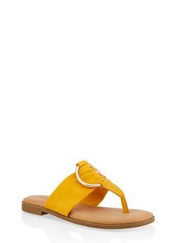Metallic O Ring Thong Slide Sandals - YELLOW - 1112004067358
