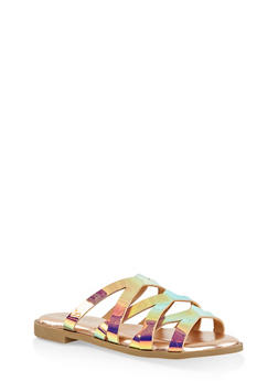Iridescent Criss Cross Slide Sandals - 1112004067361