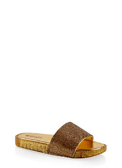 Rhinestone Band Slide Sandals - GOLD - 1112004067453