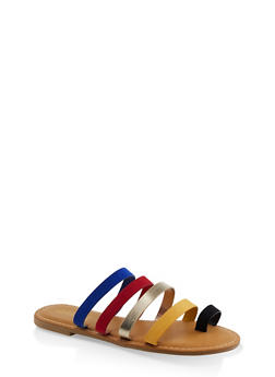 Strappy Slide Sandals - YELLOW - 1112004067471
