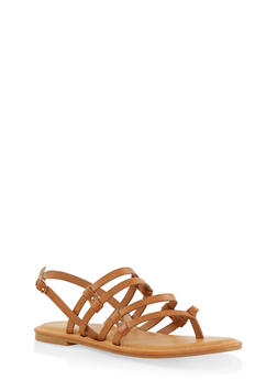 Strappy Thong Sandals - TAN - 1112004067473