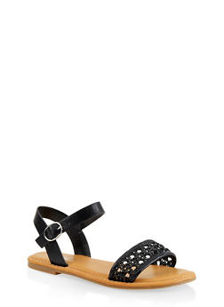 Woven Strap Faux Leather Sandals - BLACK - 1112004067480