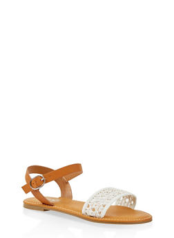 Woven Strap Faux Leather Sandals - WHITE - 1112004067480