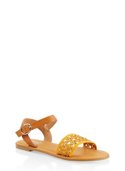 Woven Strap Faux Leather Sandals - YELLOW - 1112004067480