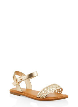 Woven Strap Faux Leather Sandals - 1112004067480