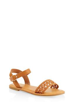 Woven Strap Faux Leather Sandals - 1112004067480