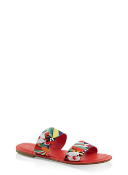 Printed Double Band Slide Sandals - ORANGE - 1112004067481