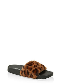 Faux Fur Band Pool Slides - 1112004067686