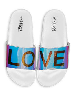 Love Graphic Pool Slides - WHITE - 1112004067687