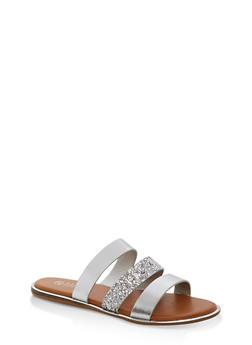Triple Strap Slide Sandals with Metallic Trim - 1112004067849