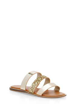 Triple Strap Slide Sandals with Metallic Trim - GOLD MULTI - 1112004067849