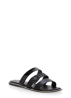 Triple Strap Slide Sandals with Metallic Trim - 1112004067849