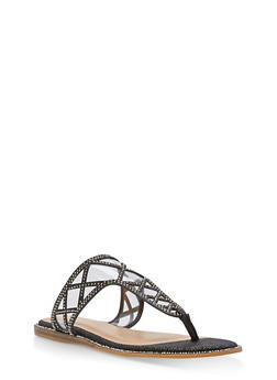 Rhinestone Shimmer Thong Sandals - BLACK GLITTER - 1112004067855