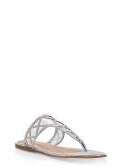 Rhinestone Shimmer Thong Sandals - SILVER GLITTER - 1112004067855