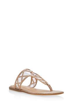 Rhinestone Shimmer Thong Sandals - ROSE GOLD GLITTER - 1112004067855