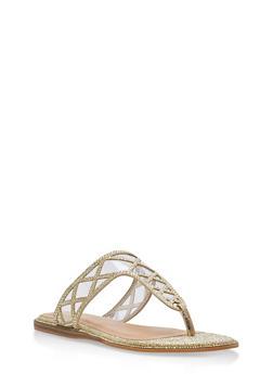 Rhinestone Shimmer Thong Sandals - GOLD GLITTER - 1112004067855