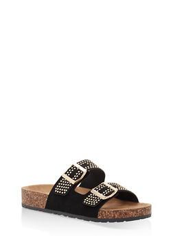 Studded Double Strap Footbed Sandals - BLACK NUBUCK - 1112004067860