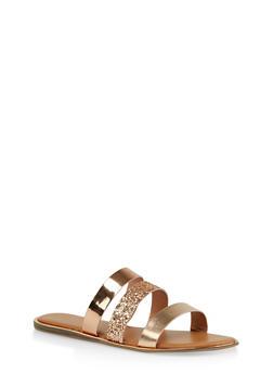 Triple Band Slide Sandals - ROSE - 1112004067861
