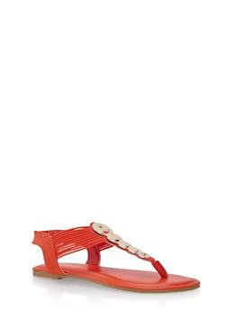 Thong Sandals with Circular Metallic Accents - 1112004067870