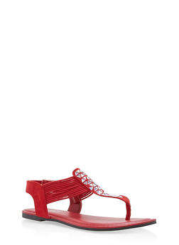 Rhinestone Strap Thong Sandals - RED F/S - 1112004067871
