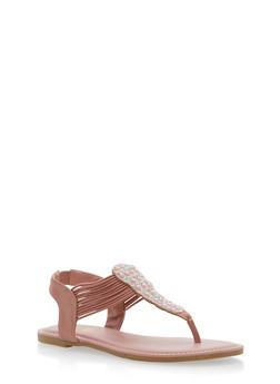 Rhinestone Elastic Thong Sandals - MAUVE NUBUCK - 1112004067872
