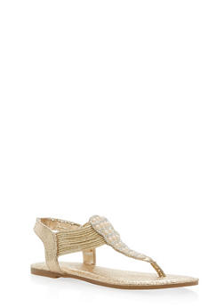 Rhinestone Elastic Thong Sandals - 1112004067872