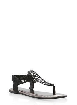Laser Cut Rhinestone Thong Sandals - BLACK GLITTER - 1112004067873