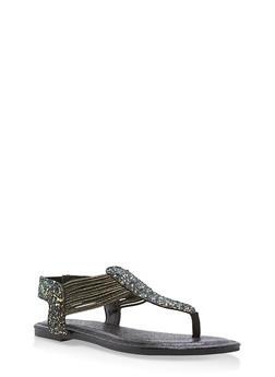 Shimmer Strap Thong Sandals - BLACK GLITTER - 1112004067878