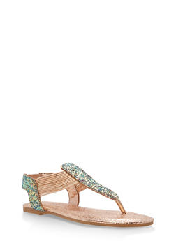 Shimmer Strap Thong Sandals - BLUE GLITTER - 1112004067878