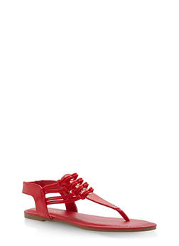 Stretch Loop Thong Sandals - RED PATENT - 1112004067879