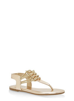 Stretch Loop Thong Sandals - GOLD PU - 1112004067879