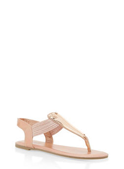 Strappy Thong Sandals with Textured Metallic Detail - ROSE GOLD LPU - 1112004067882