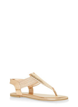 Elastic Multi Strap Thong Sandals with Metallic Detail - 1112004067883