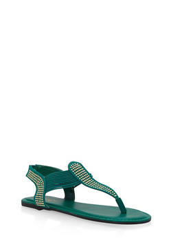 Studded Elastic Thong Sandals - GREEN F/S - 1112004067886